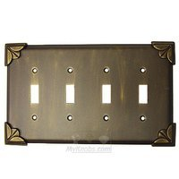 Anne at Home - Pompeii - Pompeii Switchplate Quadruple Toggle Switchplate in Pewter Matte
