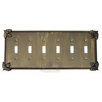 Anne at Home - Oak Leaves - Oak Leaf Switchplate Six Gang Toggle Switchplate in Pewter Matte