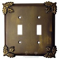 Anne at Home - Oak Leaves - Oak Leaf Switchplate Double Toggle Switchplate in Pewter Matte