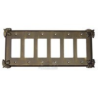 Anne at Home - Oak Leaves - Oak Leaf Switchplate Six Gang Rocker/GFI Switchplate in Pewter Matte
