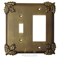 Anne at Home - Oak Leaves - Oak Leaf Switchplate Combo Rocker/GFI Single Toggle Switchplate in Pewter Matte