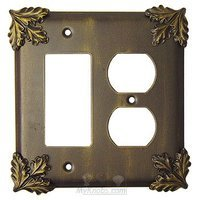 Anne at Home - Oak Leaves - Oak Leaf Switchplate Combo Rocker/GFI Duplex Outlet Switchplate in Pewter Matte