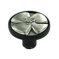 "Anne at Home - Bloom - 1 1/4"" Diameter Knob in Black with Pewter Bright Inset"