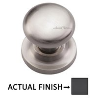 "Ashley Norton Hardware - Solid Brass - 1 1/4"" Round Knob on Rose in Flat Black"