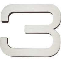 Atlas Homewares - House Numbers Self-Adhesive Paragon - # 3 Self-Adhesive House Number in Stainless Steel
