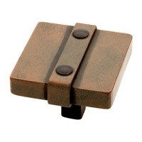 "Liberty Hardware - Avante - Iron Craft - Knob 1 1/2"" Square Steel Rusted Iron"