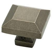 "Liberty Hardware - Avante - Iron Craft - Knob 1 1/4"" Square Steel Sandcasted Pewter"