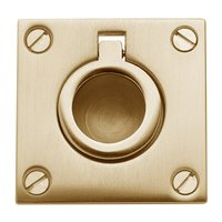 "Baldwin Hardware - Satin Brass - 1 5/8"" Recessed Ring Pull in PVD Lifetime Satin Brass"