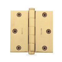 "Baldwin Hardware - Satin Brass & Brown - 3"" x 3"" Square Corner Door Hinge in Satin Brass & Brown"