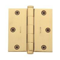 "Baldwin Hardware - Satin Brass & Brown - 3 1/2"" x 3 1/2"" Square Corner Door Hinge in Satin Brass & Brown"
