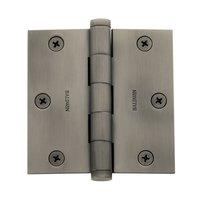 "Baldwin Hardware - Antique Nickel - 3 1/2"" x 3 1/2"" Square Corner Door Hinge with Non Removable Pin in Antique Nickel"