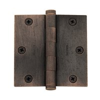 "Baldwin Hardware - Distressed Oil Rubbed Bronze - 3 1/2"" x 3 1/2"" Square Corner Door Hinge with Non Removable Pin in Distressed Oil Rubbed Bronze"