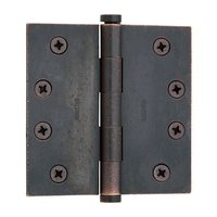 "Baldwin Hardware - Distressed Oil Rubbed Bronze - 4"" x 4"" Square Corner Door Hinge with Non Removable Pin in Distressed Oil Rubbed Bronze"
