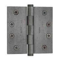 "Baldwin Hardware - Distressed Antique Nickel - 4"" x 4"" Square Corner Door Hinge with Non Removable Pin in Distressed Antique Nickel"