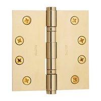 "Baldwin Hardware - NonLacquered Brass - 4"" x 4"" Ball Bearing Square Corner Door Hinge in Unlacquered Brass"