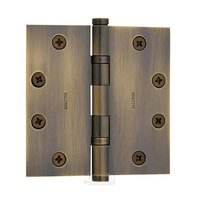 "Baldwin Hardware - Satin Brass & Black - 4"" x 4"" Ball Bearing Square Corner Door Hinge with Non Removable Pin in Satin Brass & Black"