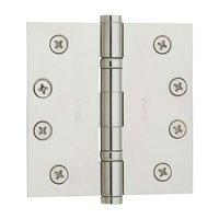 "Baldwin Hardware - Polished Nickel - 4"" x 4"" Ball Bearing Square Corner Door Hinge in Polished Nickel"
