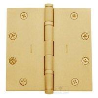 "Baldwin Hardware - Satin Brass - 4 1/2"" x 4 1/2"" Ball Bearing Square Corner Door Hinge in PVD Lifetime Satin Brass"