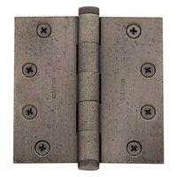 "Baldwin Hardware - Distressed Antique Nickel - 4 1/2"" x 4 1/2"" Ball Bearing Square Corner Door Hinge with Non Removable Pin in Distressed Antique Nickel"