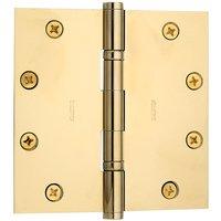 """Baldwin Hardware - Estate Door Accessories - 4"""" x 4"""" Ball Bearing Square Corner Door Hinge in Satin Nickel"""