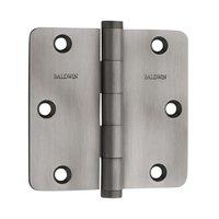 """Baldwin Hardware - Antique Nickel - 3 1/2"""" x 3 1/2"""" 1/4"""" Radius Door Hinge in Antique Nickel"""
