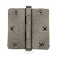 """Baldwin Hardware - Estate Door Accessories - 3 1/2"""" x 3 1/2"""" 1/4"""" Radius Door Hinge in Satin Nickel"""