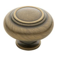 "Baldwin Hardware - Satin Brass & Black - 1 1/2"" Diameter Ring Deco Knob in Satin Brass & Black"
