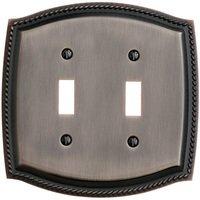 Baldwin Hardware - Switchplates - Double Toggle Rope Switchplate in Venetian Bronze