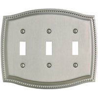 Baldwin Hardware - Switchplates - Triple Toggle Rope Switchplate in Satin Nickel