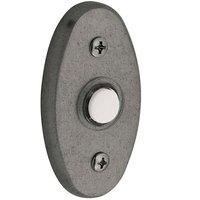 "Baldwin Hardware - Distressed Antique Nickel - 3"" x 1 3/4"" Oval Bell Button in Distressed Antique Nickel"