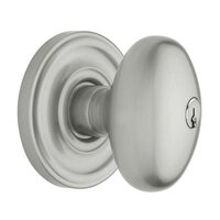 Baldwin Hardware - Egg - Keyed Entry Door Knob with Classic Rose in Satin Chrome