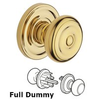 Baldwin Hardware - Colonial - Full Dummy Door Knob with Classic Rose in Polished Brass