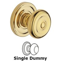 Baldwin Hardware - Colonial - Single Dummy Door Knob with Classic Rose in Polished Brass