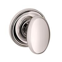 Baldwin Hardware - Egg - Single Dummy Door Knob with Classic Rose in Lifetime PVD Polished Nickel
