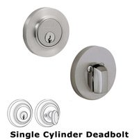 Baldwin Hardware - Low Profile Contempoary - Solid Stainless Steel Single Cylinder Deadbolt in Satin Stainless Steel