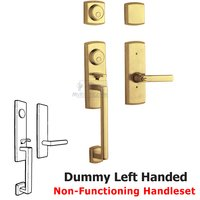 Baldwin Hardware - Soho - Two Point Left Handed Full Dummy Handleset with Lever in Lifetime PVD Polished Brass