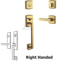 Baldwin Hardware - Soho - Sectional Right Handed Single Cylinder Handleset with Lever in Unlacquered Brass