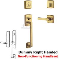 Baldwin Hardware - Soho - Sectional Right Handed Full Dummy Handleset with Lever in NonLacquered Brass