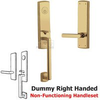 Baldwin Hardware - Soho - Escutcheon Right Handed Full Dummy Handleset with Lever in Lifetime PVD Polished Brass