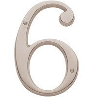 Baldwin Hardware - Lifetime PVD Polished Nickel - #6 House Number in Lifetime PVD Polished Nickel