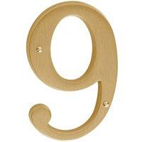 Baldwin Hardware - Satin Brass - #9 House Number in PVD Lifetime Satin Brass