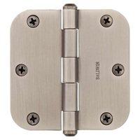 """Baldwin Hardware - Reserve Door Accessories - 3 1/2"""" 5/8"""" Radius Corner Door Hinge in Matte Antique Nickel"""