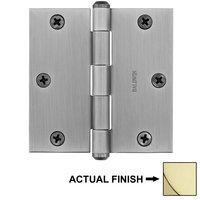 """Baldwin Hardware - Reserve Door Accessories - 3 1/2"""" Square Corner Door Hinge in Polished Brass"""