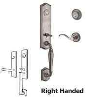 Baldwin Hardware - Reserve New Hampshire - Handleset with Right Handed Curve Lever and Traditional Round Rose in Matte Antique Nickel