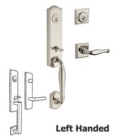 Baldwin Hardware - Reserve New Hampshire - Left Handed Double Cylinder New Hampshire Handleset with Decorative Door Lever with Traditional Square Rose in Polished Nickel