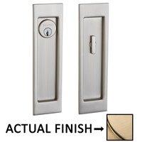 Baldwin Hardware - Pocket Door Hardware - Large Santa Monica Keyed Mortise Pocket Door Set in Lifetime Brass