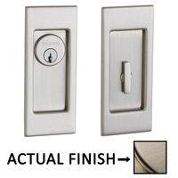 Baldwin Hardware - Pocket Door Hardware - Small Santa Monica Keyed Mortise Pocket Door Set in Lifetime Brass