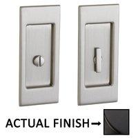 Baldwin Hardware - Pocket Door Hardware - Small Santa Monica Privacy Mortise Pocket Door Set in Lifetime Brass