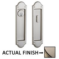 Baldwin Hardware - Pocket Door Hardware - Boulder Keyed Mortise Pocket Door Set in Lifetime Brass
