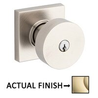 Baldwin Hardware - Contemporary - Keyed Contemporary Knob with Square Rose in Lifetime Pvd Polished Brass